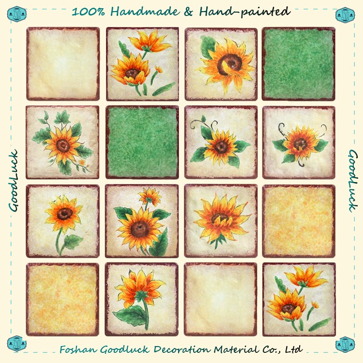 Hand Painted Color Glazed Sunflower 15X15 Ceramic Wall Tile For Bedroom