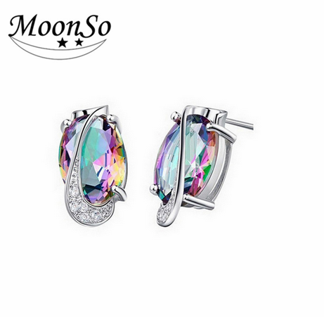 MOONSO Fashion Jewelry Beautiful Earrings wWith Multi Color Perfect Amber Earrings AE689S