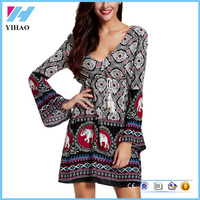 Latest Casual Wear Fashion Sexy Long Bell Sleeve Boho Dress For Women