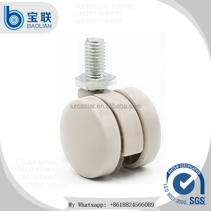 Wholesale small 30mm cream-coloured threaded stem caster wheel