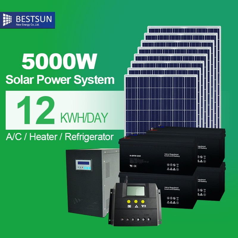 Best sun Complete Home Solar Panel <strong>Kit</strong> 5KW Off Grid Solar System with Controller Battery Inverter Mounting System and Cables
