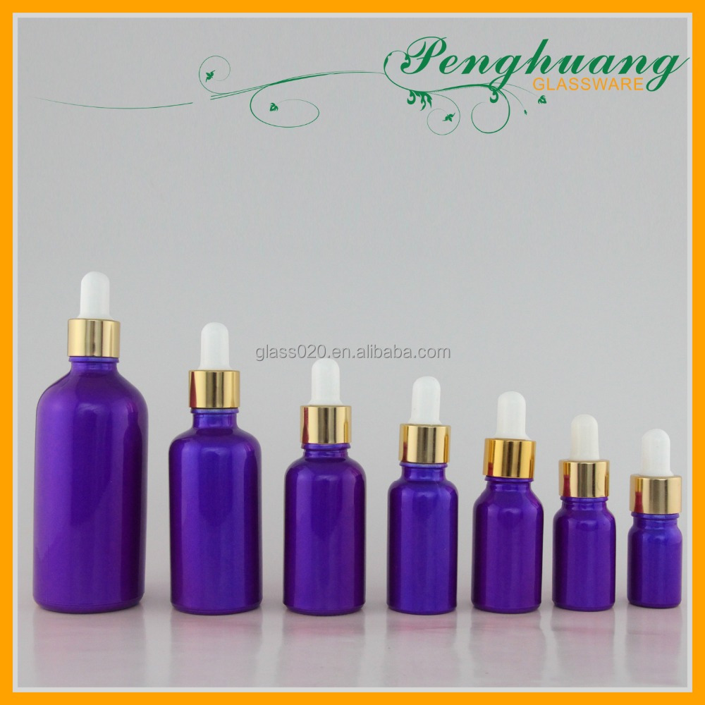 guangzhou factory supply elegant puple glass essential oil bottle with dropper