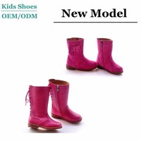 Lovely girls shoes handsome wear bow boots shoes nubuck material rose red girl high boots