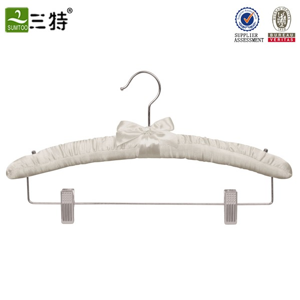 satin padded coat hanger with clips