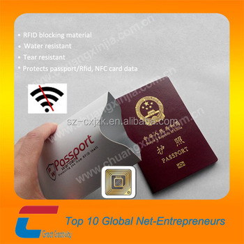Anti Thief Aluminum Foil Paper Credit Card , Passport RFID Blocking Sleeve