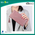 New high zipper quality PU leather women cell phone wallet with shoulder chain tassel and wristlet