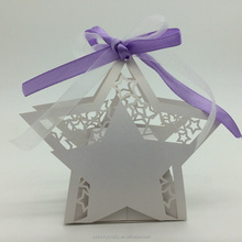 2016 Hot Custom white star Shape Laser Cut paper wedding candy box chocolate favour box baby shower gift box