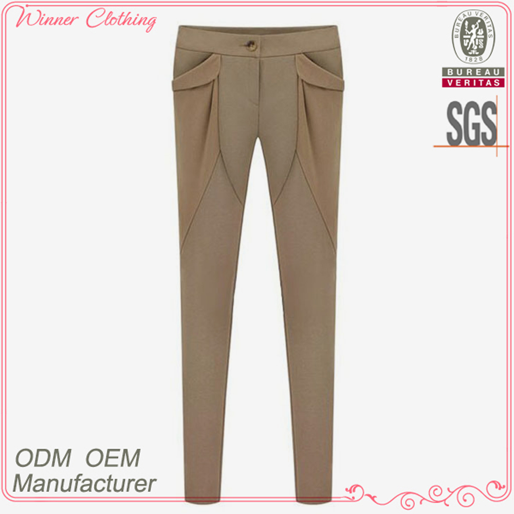 best price ladies good quality close-fitting khaki business workwear trousers