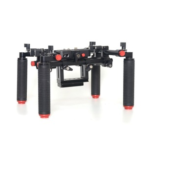 KINGJOY 15 mm Universal Rods Aluminum Video Support Rig with 4 Rubber Handle Grips