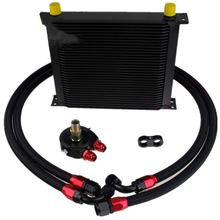 34 Row AN10 Universal Engine Tranmission Oil Cooler + 10AN Filter Adapter Black