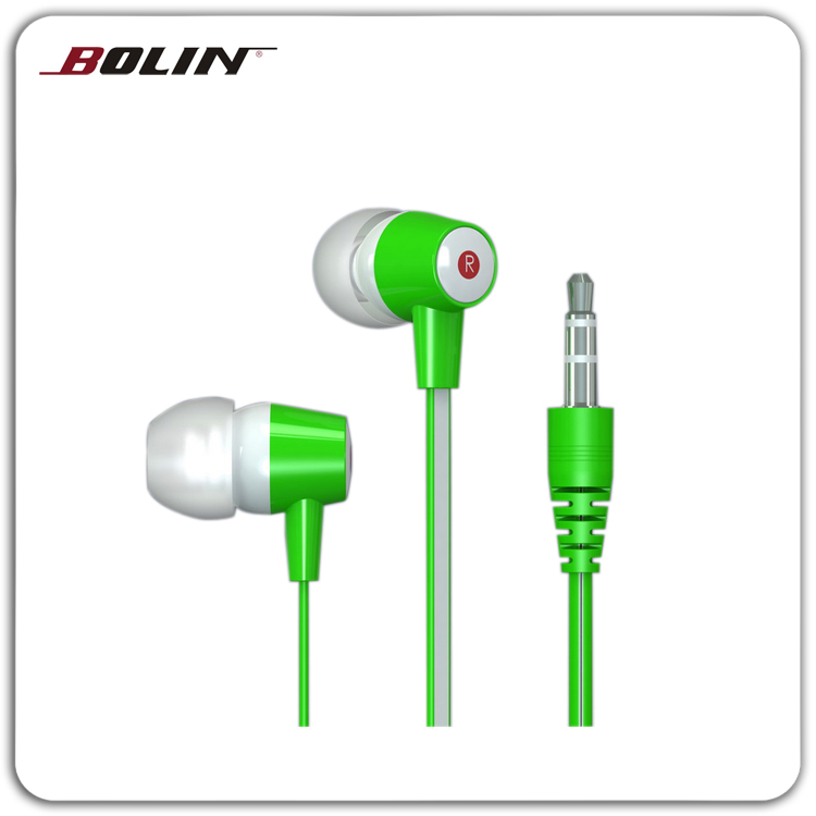Various color flat cable in-ear earphone for MP3/MP4 player Superior sound stereo earphone