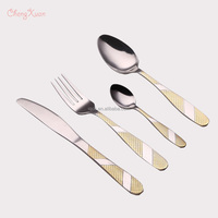 18 / 10 / 18/0 stainless steel Gold-plated Tableware knife fork spoons