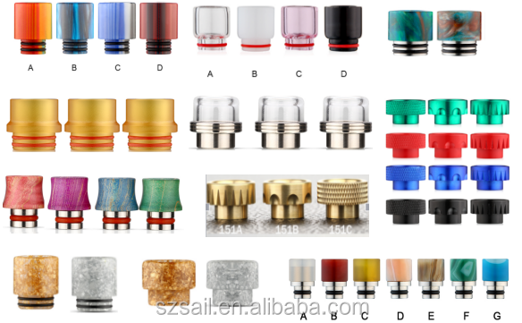 Sailing high quality epoxy resin ecig vape drip tops for VGOD RDA