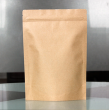 Disposable Standing up Kraft Paper Bag with Top Ziplock for Coffee