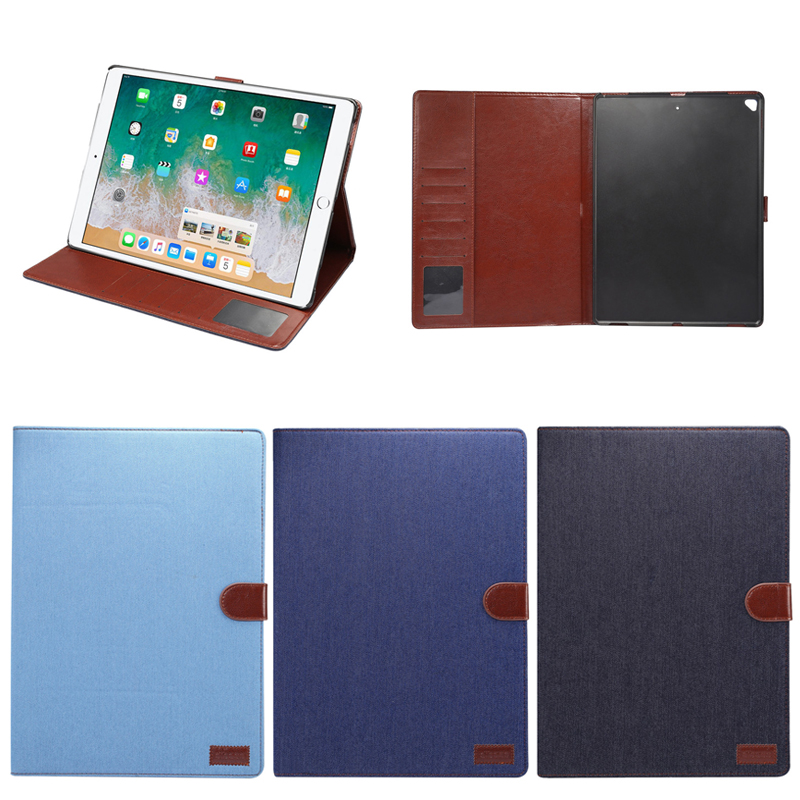 Casual Cowboy Jeans Style Wallet Flip PU Leather Tablet Case for iPad Pro 12.9