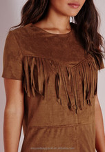 Short Sleeve Faux Suede Tan Brown Tassel Fringe Fashion Shift Dress / Ladies Brown Fringe Shift Dress