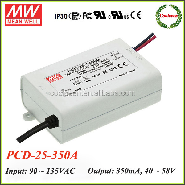 Meanwell PCD-25-350 20.3W AC dimmable LED power supply single output ip42