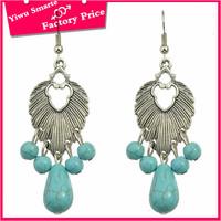 Alibaba Wholesale antique silver brass dangle stone earrings tribal indian turquoise resin rhinestone earrings for women
