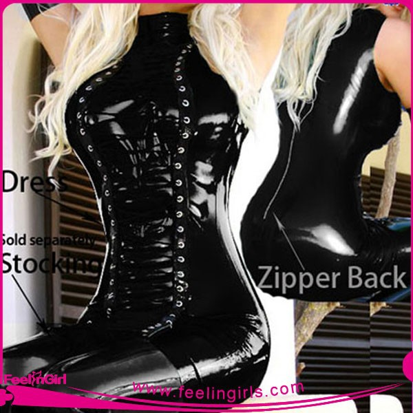 2015 Newest Wet Look Fashion Sexy PVC Latex Catsuit Dress