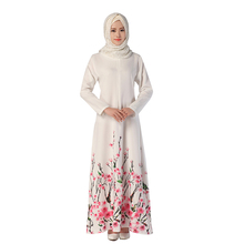 Decent muslim dress with Chinese style flower printing elegant white islamic clothing jubah abaya jilbab for hot sale