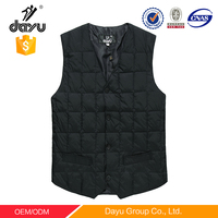 Latest design V-neck mens waistcoat duck down padded vest sleeveless quilted winter purplish blue men's casual winter vest