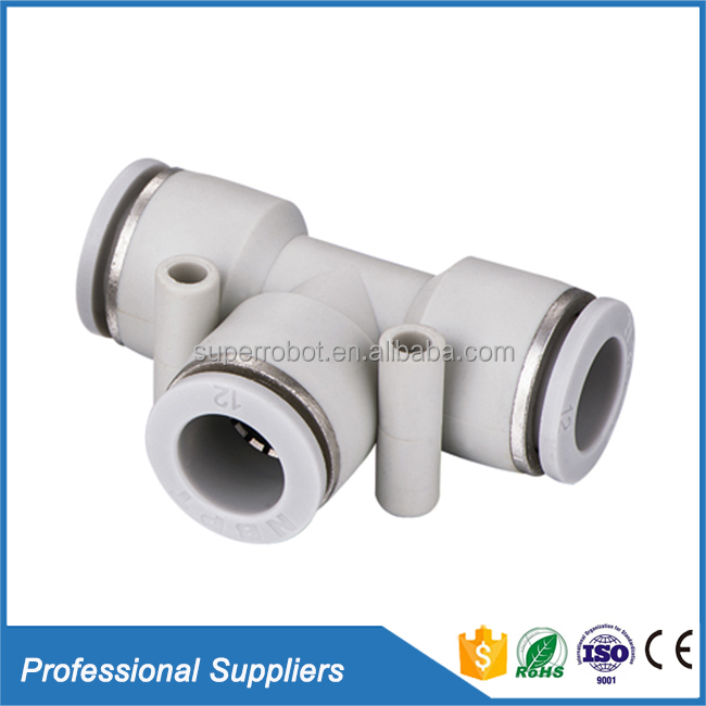 Poly pipe hose fitting push plastic white round PUT union tee auto air conditioning fittings