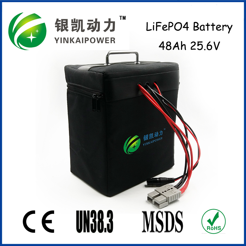 24V 48Ah portable lifepo4 battery pack coverage by iron shell and with handle for power supply