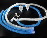 Adult Ventilator Circuit with Double Water trap American type white and blue 6 inches corrugated tube