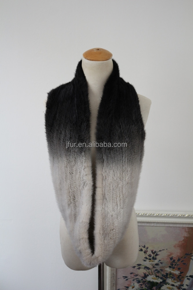 Wonderful Style Deluxe Mink Fur Knit Scarf Mixed Gradient Colors Knitted Fur Muffler For Women