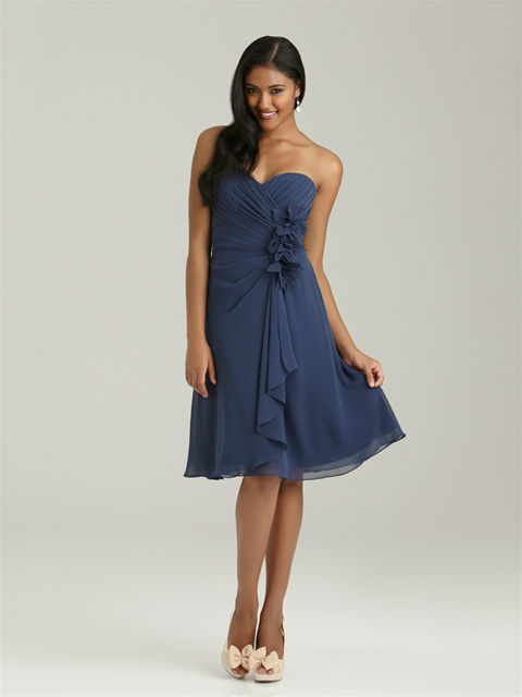 Floor-Length Sweetheart Neckline Ruched Chiffon Navy Blue Plus Size Bridesmaid Dresses( BDAL-4021)