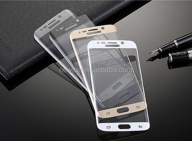 0.33MM Full cover 3D curved tempered glass screen protector for samsung galaxy s6 eage , 4 color to option