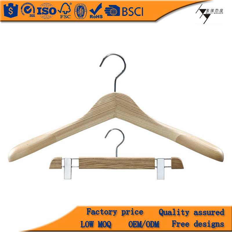 Fashion Natural Clothes Wooden Hanger For Pants