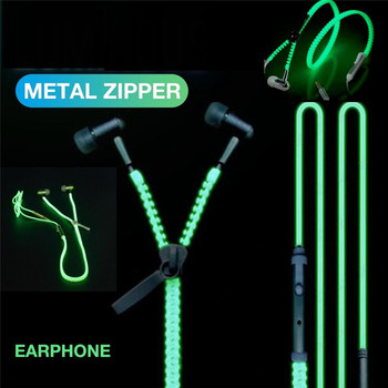 noctilucent Stereo Bass In-Ear Metal Zipper Earphone 3.5mm Wired with Microphone LED Light Luminous Glowing Headset