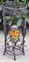 SUNFLOWER ROUND WROUGHT IRON UMBRELLA STAND