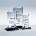 Custom clear blank crystal glass award plaque with conpany logo as business giveaway