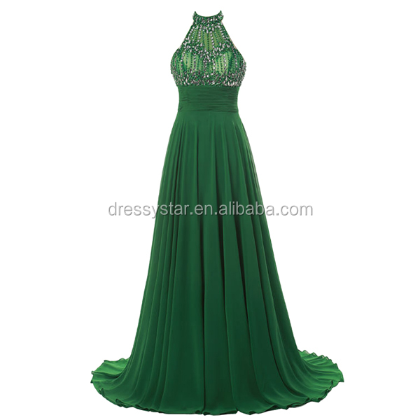 2017 Fashion affordable long green chiffon one piece prom evening dresses with beading top