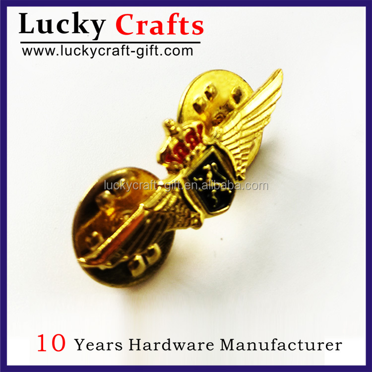 high quality customized logo wing metal lapel pin badge for sale