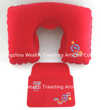PVC flocking travel Inflatable neck pillow