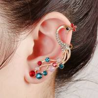 Excellent Animal Designs Big Multicolor Crystal Peacock Earrings Single Ear Cuff Clip Earrings For Ladies