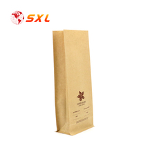 Open Top Square Bottom Heat Sealable Paper Kraft Coffee Bag with OEM