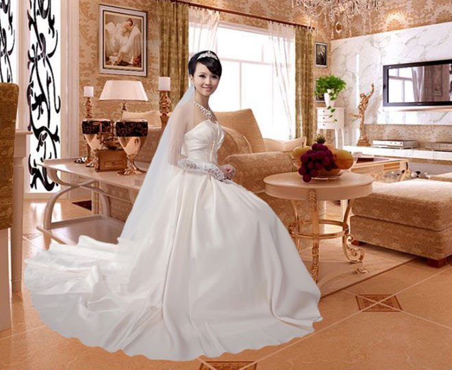 white bridal gown with long train