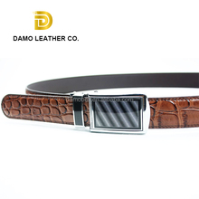 Wenzhou Manufacturer Cowhide Black Genuine Leather Belts For Man Classic Automatic Ratchet Buckle Belt
