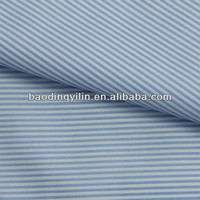 sky blue white striped yarn dyed T/C fabric