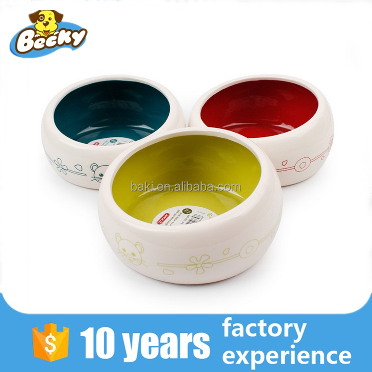 High Quality Round Shape Pet Dishes Luxury Ceramic Dog Bowl