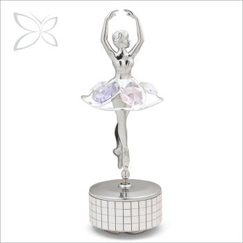 Luxury Respectable Sliver Plated Metal Ballerina Music Box