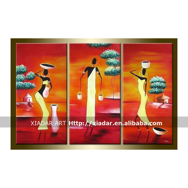 3 panels african women oil painting, abstract wall art decor