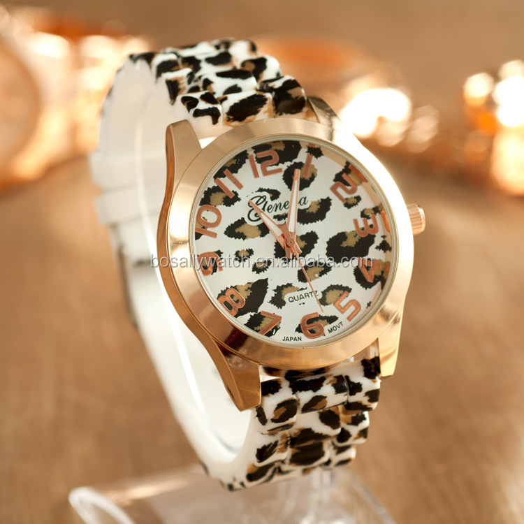 The popular fishion silicone watch with leopard <strong>grain</strong> design for ladies in 2016