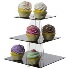 Party Birthday Bakery Cake Tower Display 3 Tiers Acrylic square Cupcake Stand