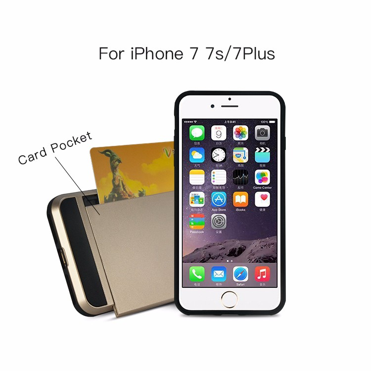 2017 China Wholesale Free Sample Durable Card Pocket Plot Mobile Phone Covers for Apple iPhone 7 Case