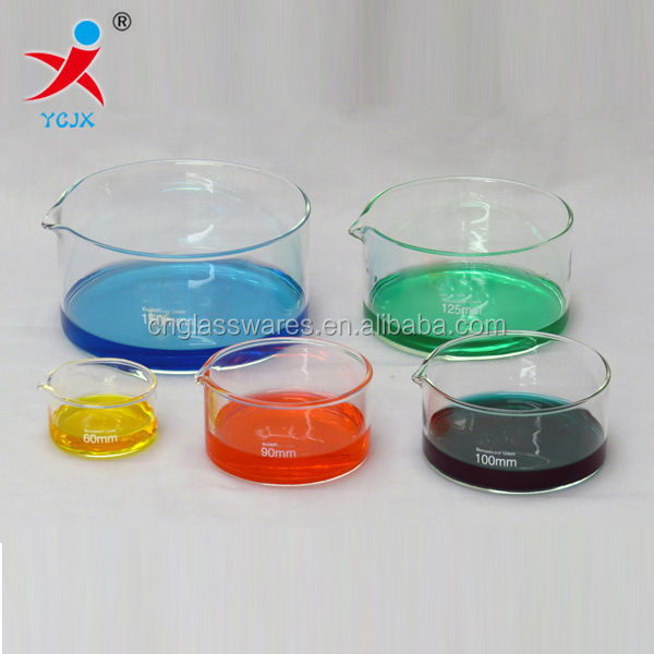 hand blown pyrex borosilicate glass beakers with calibration graduation